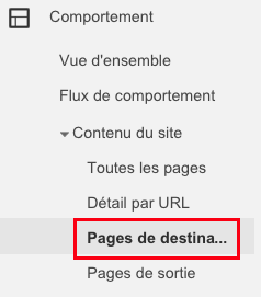 pages de destination